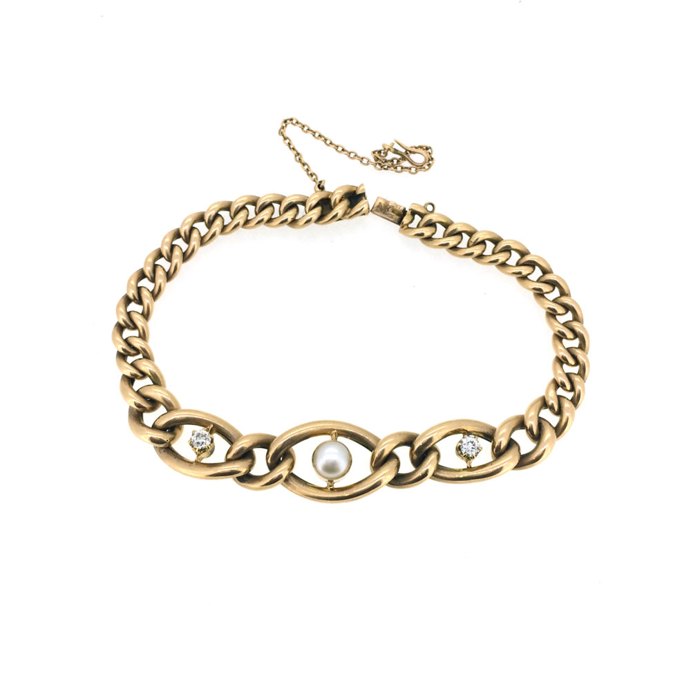 Victorian diamond and pearl curb link bracelet